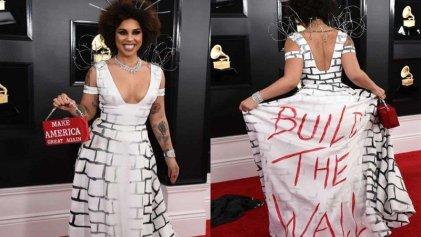 Xenofobia en los Grammy: una cantante se puso un vestido estilo Trump