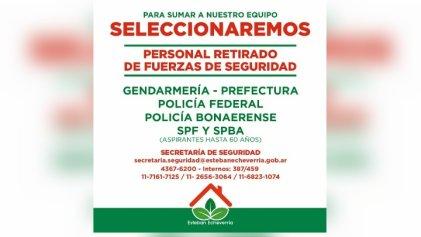 [Grave] Esteban Echeverría: el municipio convoca a retirados de las fuerzas seguridad