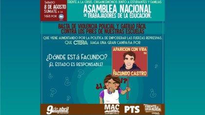 Los docentes también nos preguntamos: ¿dónde está Facundo Castro?