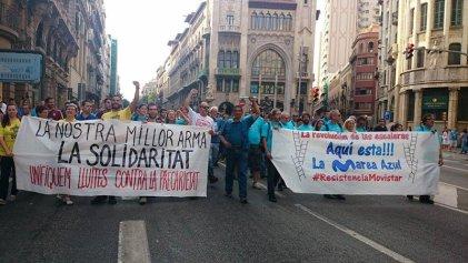 """Manifestación solidaria con Movistar: """"Unificar las luchas contra la precariedad"""""""
