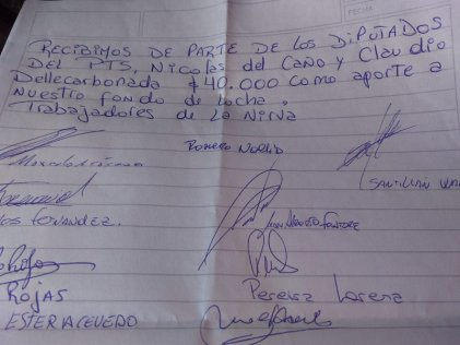 La Nirva: El PTS realizó un aporte de $40 mil pesos al fondo de lucha
