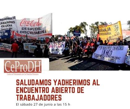Adhesión del Ceprodh a la convocatoria del Encuentro Abierto de Trabajadores de la Zona Sur